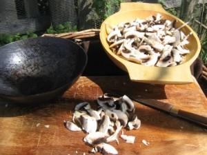 Pilze geschnitten
